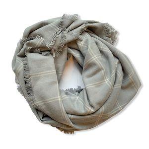 Indigo Blanket Scarf Wrap Plaid Soft Fringe